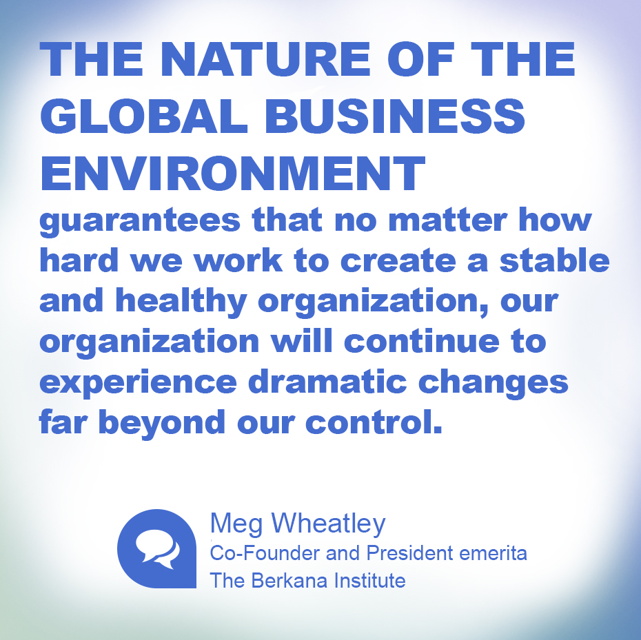 The nature of the global business environment guarantees that no matter how hard we work to create a stable and healthy organization, our organization will continue to experience dramatic changes far beyond our control. ~ Meg Wheatley